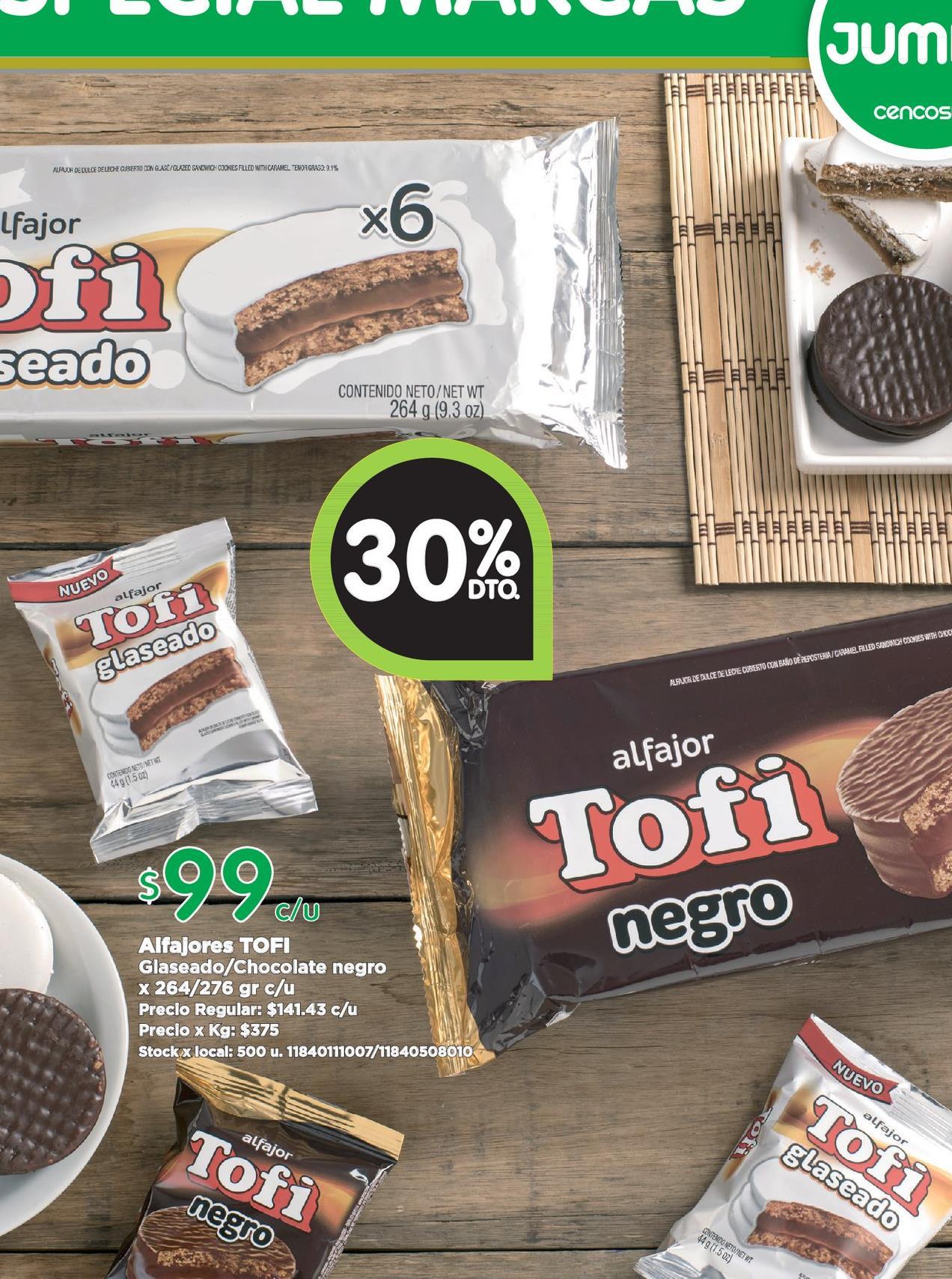 Oferta de Alfajores Tofi por $99