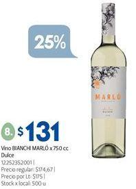 Oferta de Vino Bianchi por $131