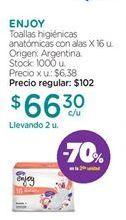 Oferta de Toallas femeninas Enjoy por $66,3
