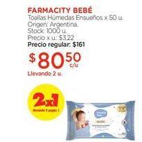 Oferta de Toallitas húmedas para bebé farmacity bebe por $80,5