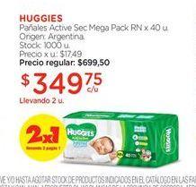 Oferta de Pañales Huggies por $349,75