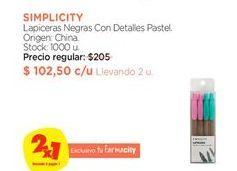 Oferta de Lapiceras SIMPLICITY por $102,5