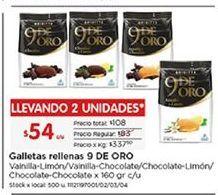 Oferta de Galletas rellenas 9 de oro por $54