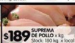 Oferta de Suprema de pollo por $189