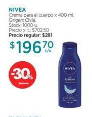 Oferta de Crema corporal Nivea por $196,7