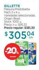 Oferta de Máquina de afeitar Gillette por $305,04