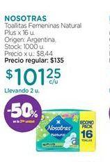 Oferta de Toallas femeninas Nosotras por $101,25
