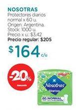 Oferta de Toallas femeninas Nosotras por $164