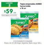 Oferta de Tapas empanadas Jumbo por $59