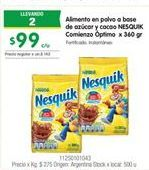 Oferta de Alimento a basae de azucar y cacao NESQUIK por $99