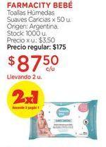 Oferta de Toallas Húmedas Suaves Caricias x 50 u. por