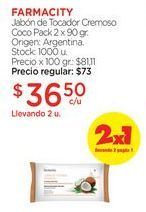 Oferta de Jabón de Tocador Cremoso Coco Pack 2 x 90 gr. por