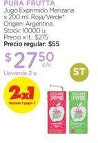 Oferta de Jugo Exprimido Manzana x 200 ml. por