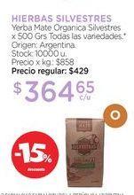 Oferta de Yerba Mate Organica Silvestres x 500 Grs por