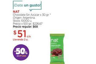 Oferta de Chocolate Sin Azúcar x 30 gr. por