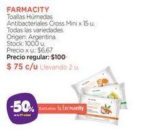 Oferta de Toallas Húmedas Antibacteriales Cross Mini x 15 u. por