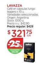 Oferta de Cápsulas de café Lavazza por $321,75