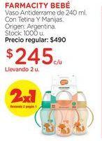 Oferta de Vaso Antiderrame de 240 ml. Con Tetina Y Manijas. por