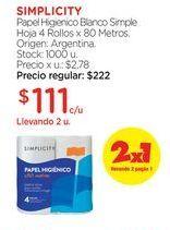 Oferta de Papel Higienico Blanco Simple Hoja 4 Rollos x 80 Metros. por