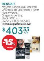 Oferta de Máscara Facial Gold Mask Peel Off/Arcilla de Los Andes x 70 gr. por
