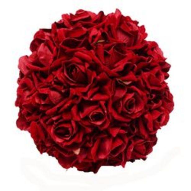 Oferta de Plantas Artificiales Topiario Rojo Online Deco Bola de Rosas Aterciopeladas 1 U. por $2,99