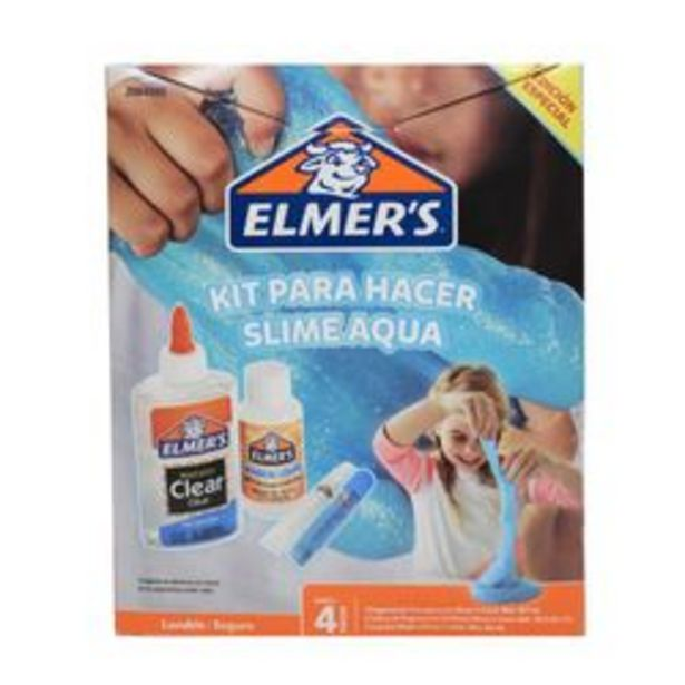 Oferta de Kit de Masa Elmer's Kit P/hacer Slime Aqua Brillante 4 Unidades. por $649