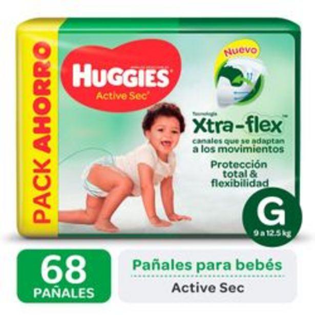 Oferta de Pañales Huggies Active Sec Xtra Flex G 68 Unidades por $1,288