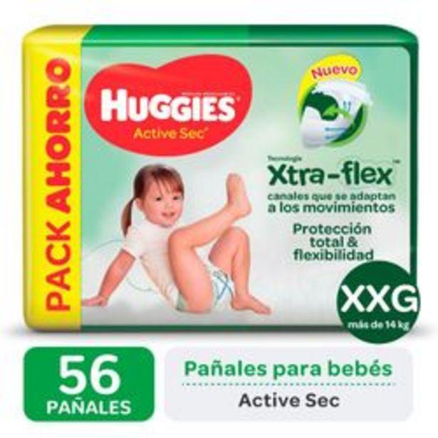 Oferta de Pañales Huggies Active Sec Xtra Flex XXG 56 Unidades por $1,288