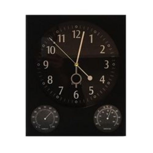 Oferta de Reloj de Pared Online Deco Cuadrado Temperatura - Humedad Negro por $4,49
