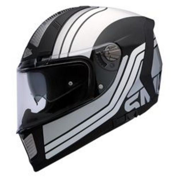 Oferta de Casco Integral SMK Force Steel Seventy  Negro y Blanco Mate L por $14,935