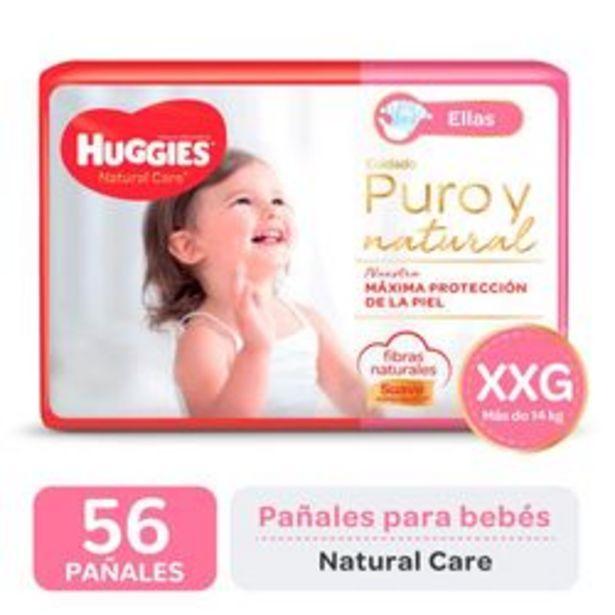 Oferta de Pañales Huggies Natural Care para Ellas XXG 56 Unidades por $1,416