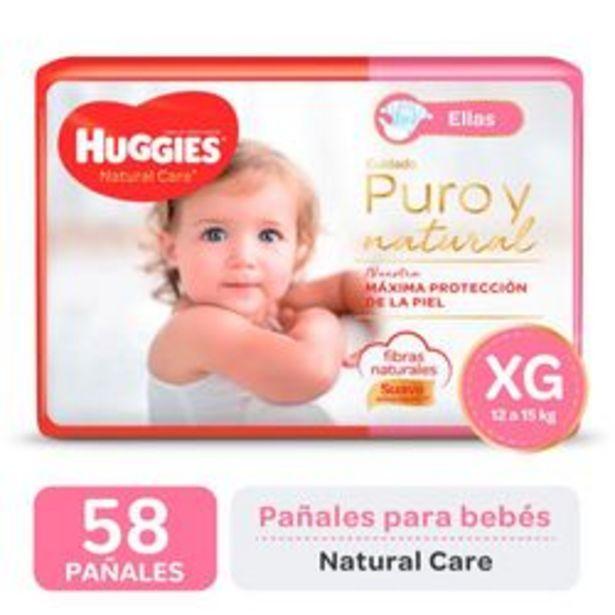 Oferta de Pañales Huggies Natural Care para Ellas XG 58 Unidades por $1,416
