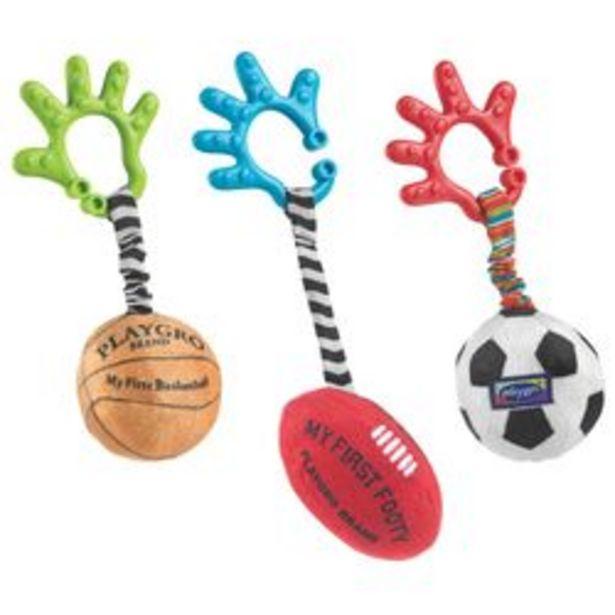 Oferta de Mordillo con Peluche Playgro Baby Sport Balls por $2,659