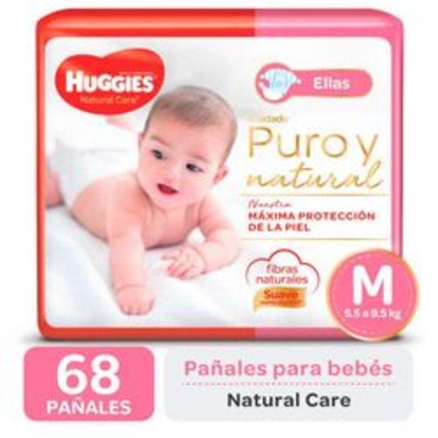 Oferta de Pañales Huggies Natural Care para Ellas M 68 Unidades por $1,416
