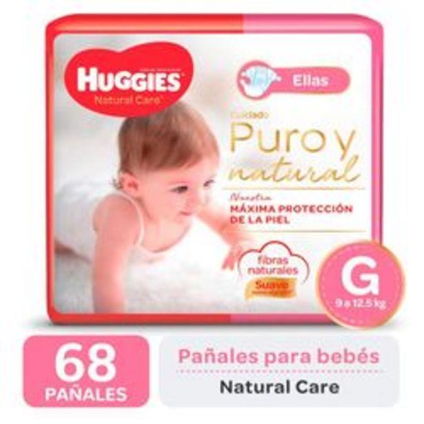 Oferta de Pañales Huggies Natural Care para Ellas G 68 Unidades por $1,416