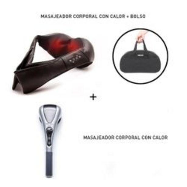 Oferta de Masajeador Wolke Combo Cervical Espalda Cuello con calor Negro 8 Esferas. por $11,199