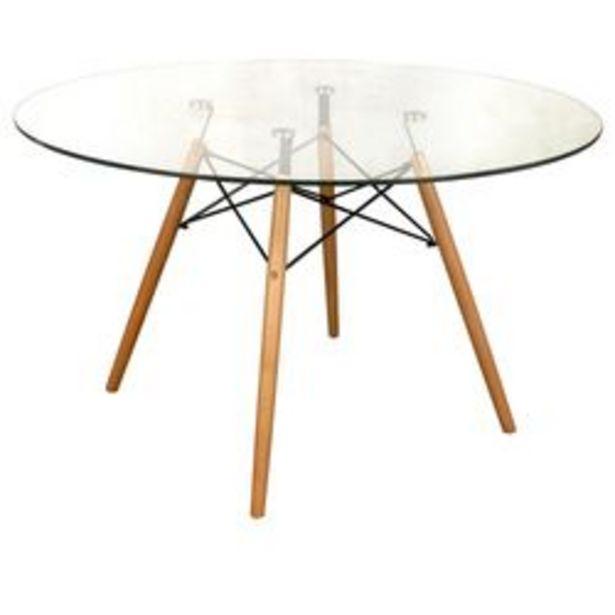 Oferta de Mesa de Madera y Vidrio Nórdica Eames  Natural 100 x 100 CM Plus Furniture por $18,69