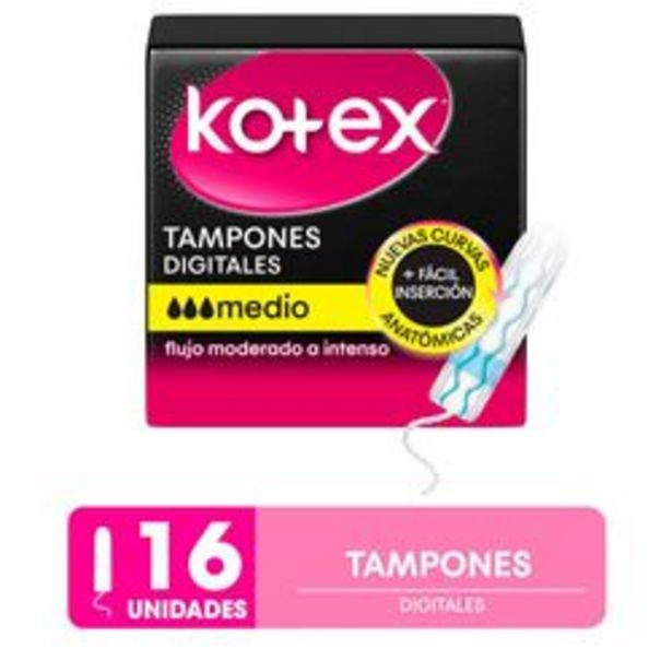 Oferta de Pack de Tampones Kotex Tampones Digitales Talle Medio por 16 U. por $236