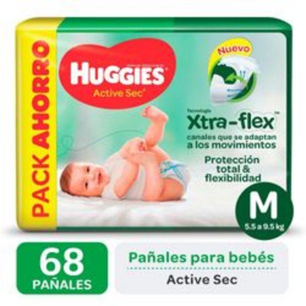 Oferta de Pañales Huggies Active Sec Xtra Flex M 68 Unidades por $1,288