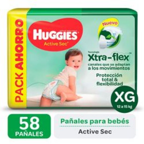 Oferta de Pañales Huggies Active Sec Xtra Flex XG 58 Unidades por $1,288