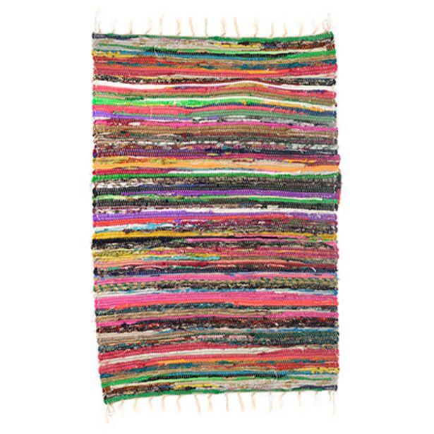 Oferta de Alfombra Rectangular de Algodón 70 X 120 Cm Multicolor por $389