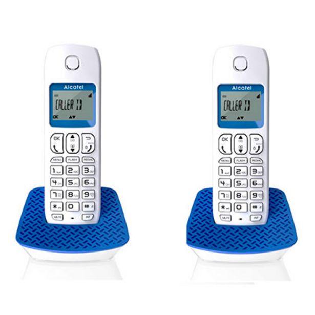 Oferta de Teléfono Inalámbrico Alcatel E 132 DUO Blanco y Celeste por $8549