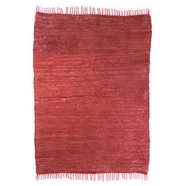 Oferta de Alfombra Rectangular de Cuero 120 X 180 Roja por $2849