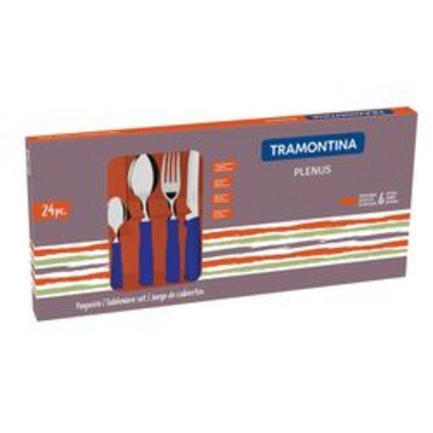 Oferta de Cubiertos Plenus 24 pzs Azul Tramontina por $2199