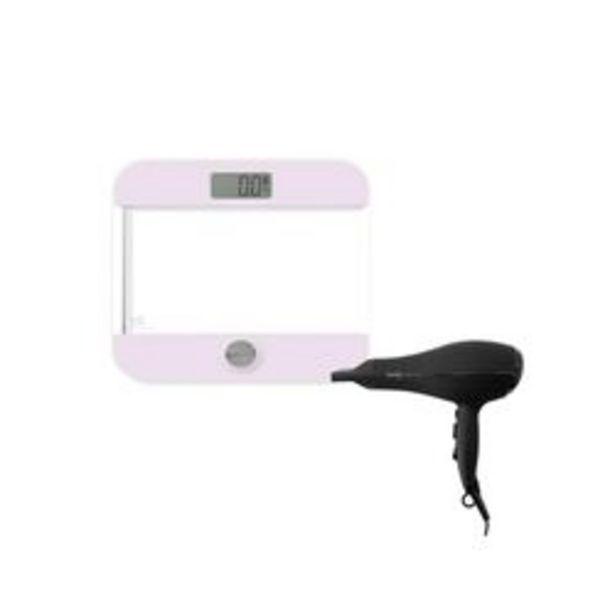 Oferta de Balanza Digital Rosa mas Secador de pelo Negro por $7650