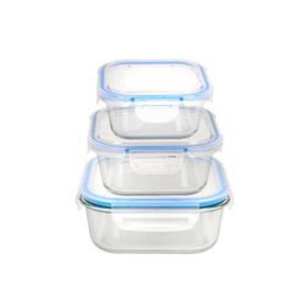 Oferta de Set de 3 Recipientes Cuadrados con Tapa Hermetica Nouvelle Cuisine Vidrio Colores Surtidos 1994220 por $2699