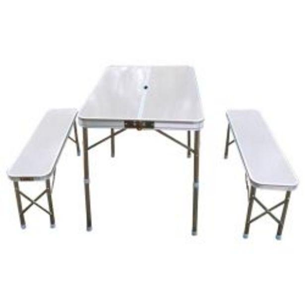 Oferta de Mesa Plegable de Aluminio + 2 Bancos por $12999