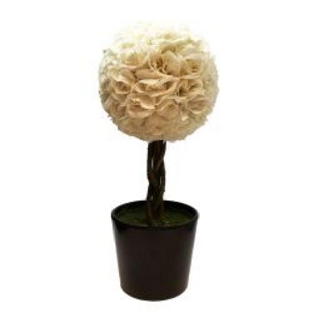 Oferta de Planta Decorativa Topiario Esfera Rosas Blancas Artificial 48 cm por $6990