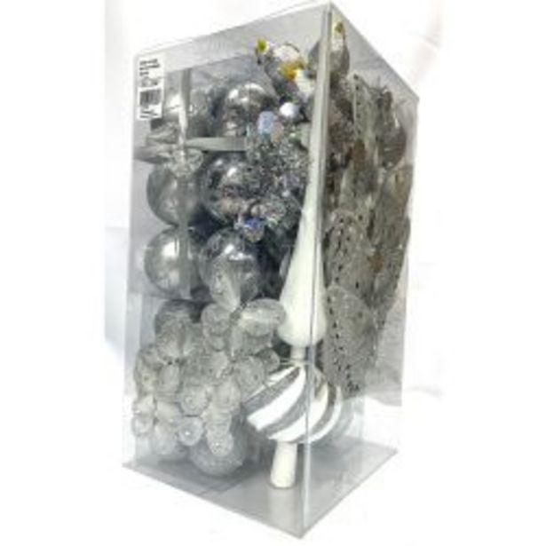 Oferta de Adorno Navideño Kit x 60 Piezas Plata por $2999