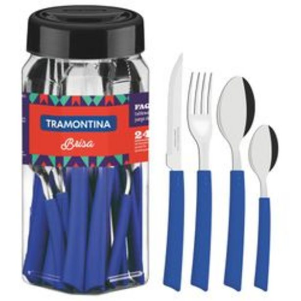 Oferta de Cubiertos Brisa 24 pzs Frasco Azul Tramontina por $1399